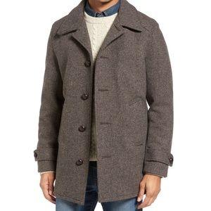 Men's J Crew Herringbone Car Coat in Tweed Wool